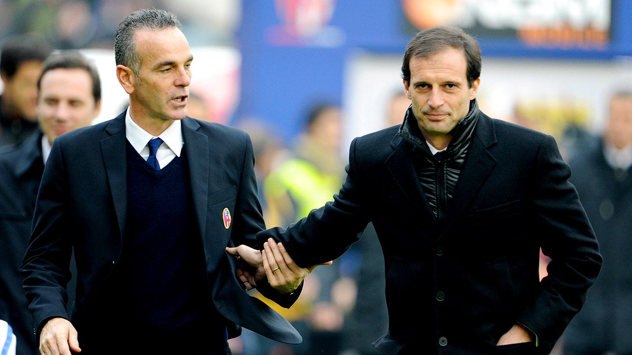 Juve's Massimiliano Allegri, right, will once again match wits against Lazio head coach Stefano Pioli, left.