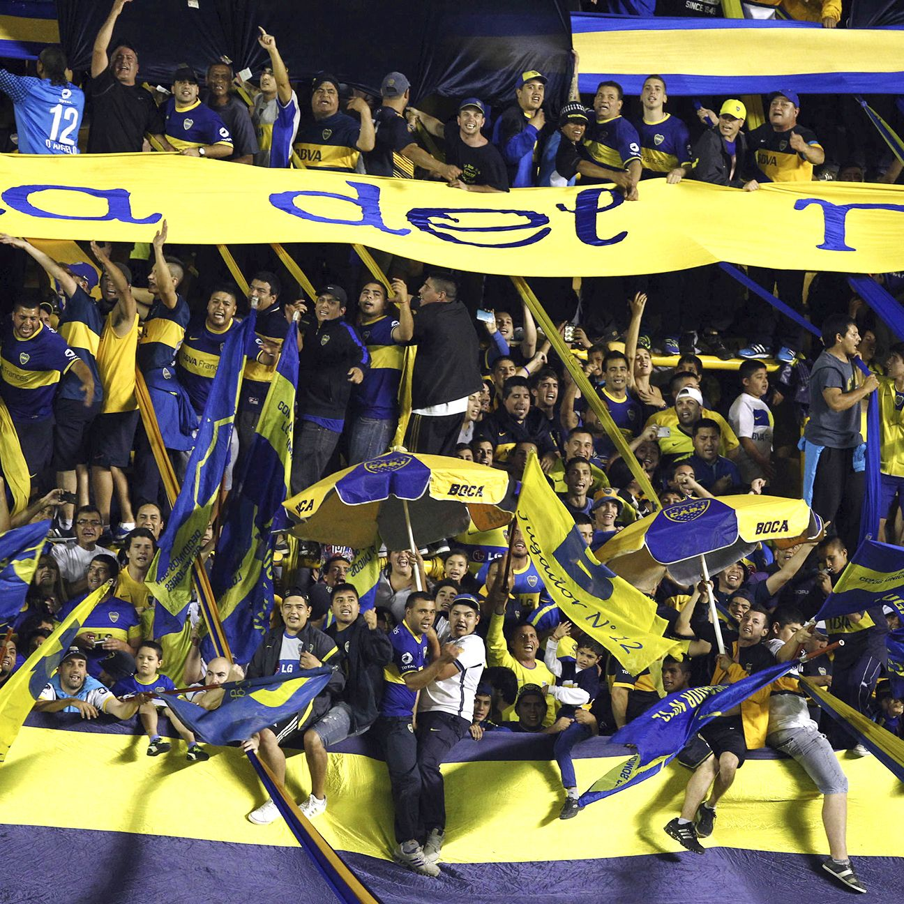 Boca Juniors fans at the La Bombonera stadium.
