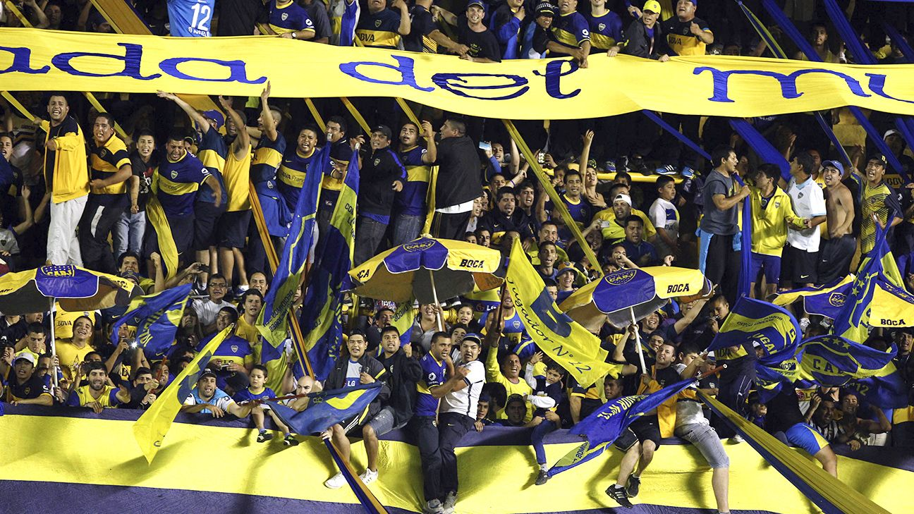 Boca Juniors fans at La Bombonera stadium.