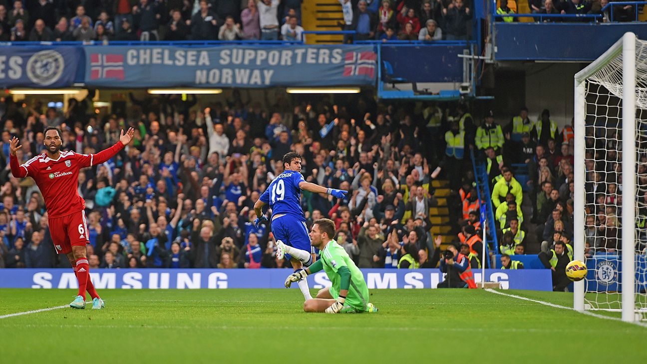 Diego Costa continued his blistering start at Stamford Bridge, scoring his 11th Premier League goal.