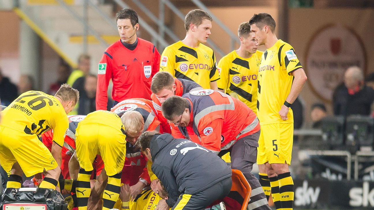 The injury bug has struck Borussia Dortmund again with Marco Reus forced to leave Saturday's 2-2 draw against Paderborn.