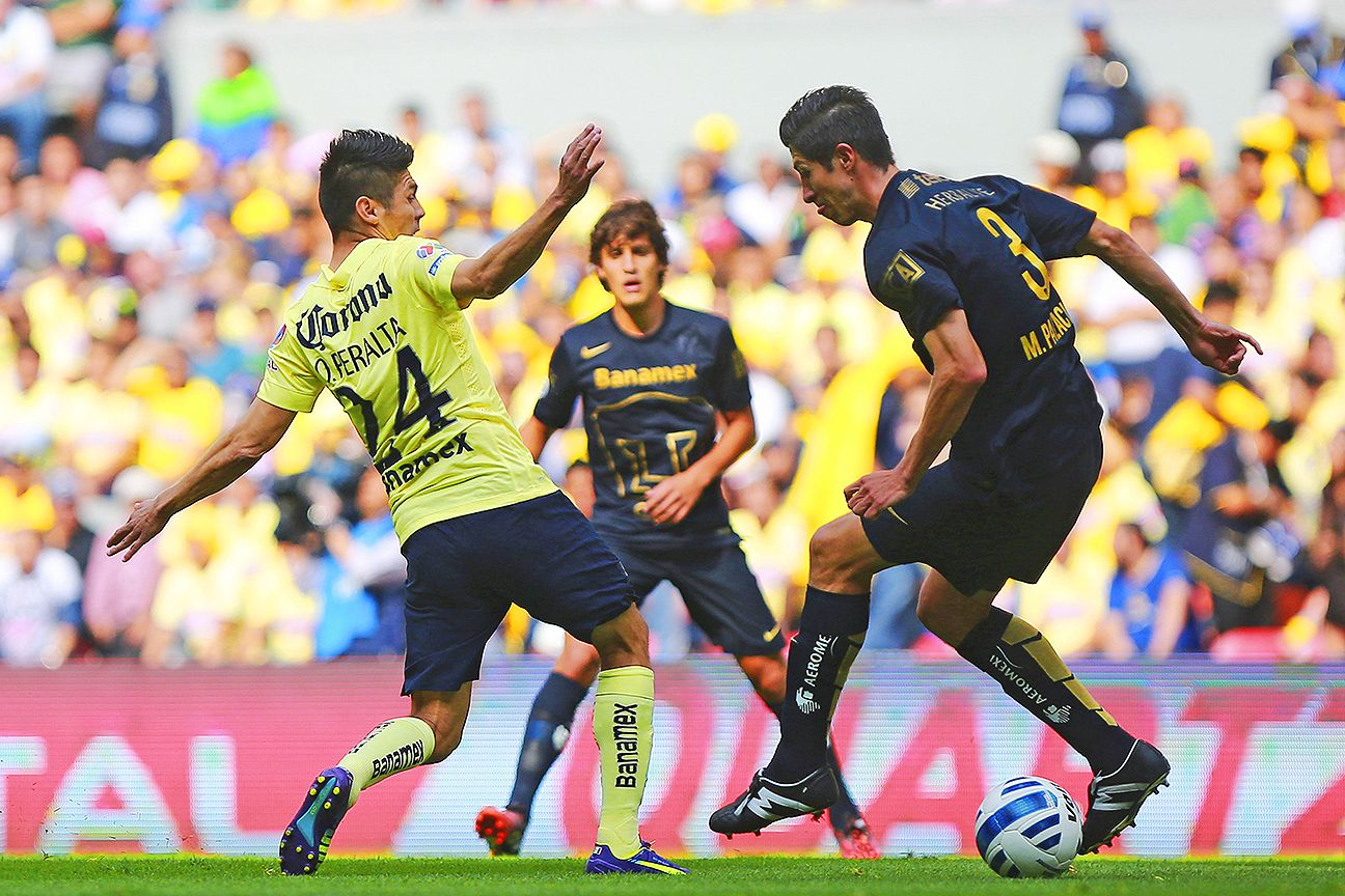 Oribe Peralta, left, and top seed Club America will have their hands full with a Pumas side that has already won at the Azteca Stadium this year.