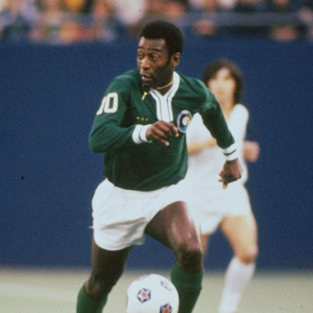 Ever the ambassador, Pele made soccer cool in the United States in the 1970's while playing for the New York Cosmos.