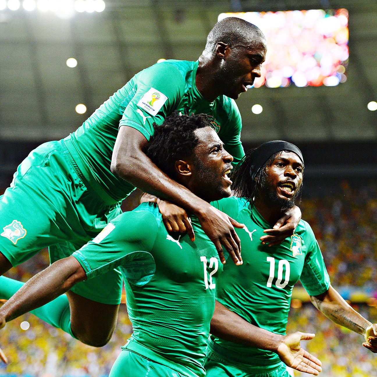 Gervinho, Yaya Toure & Wilfried Bony celebrate for the Ivory Coast