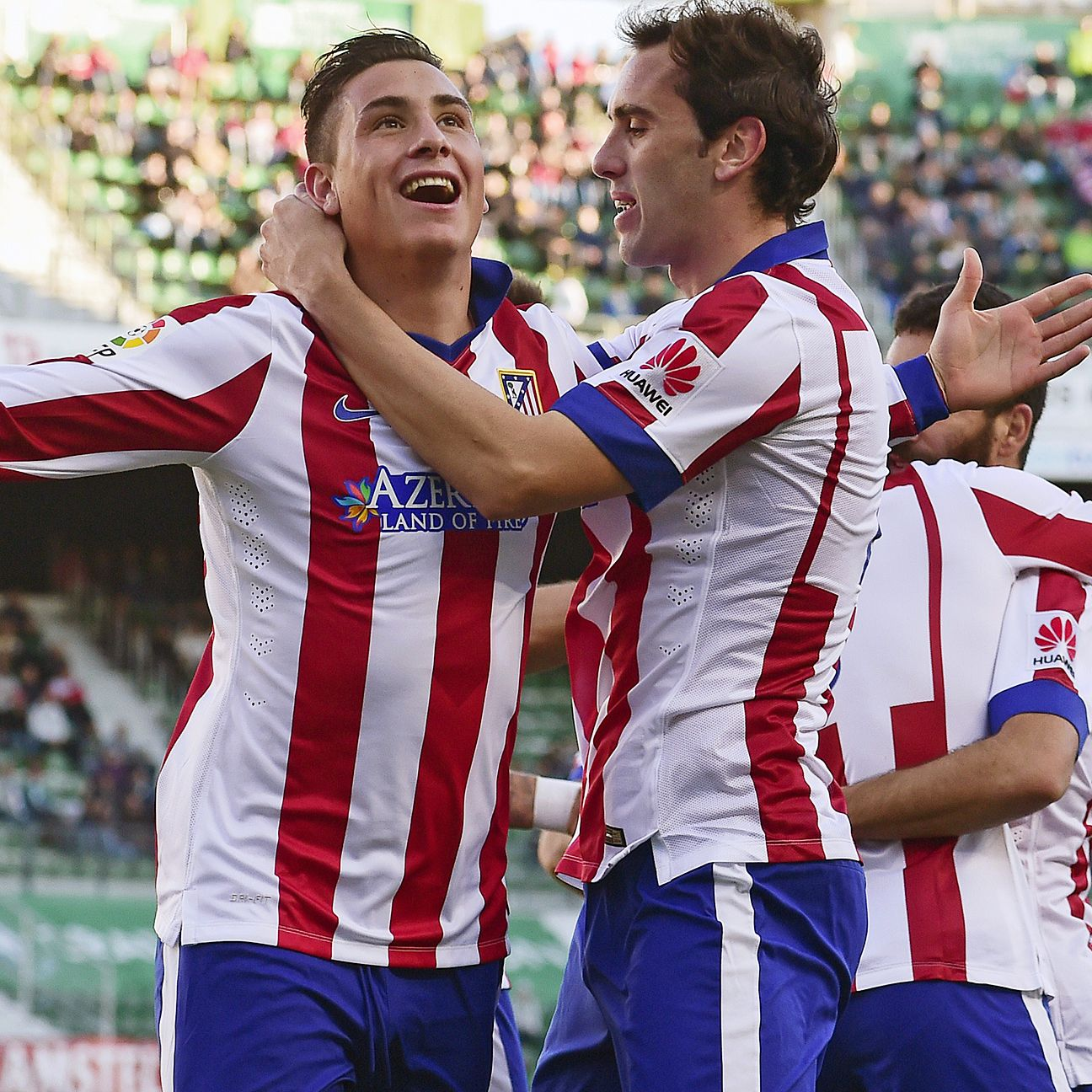 Atletico Madrid's Jose Gimenez, left, has all the makings of a world-class centre-back.