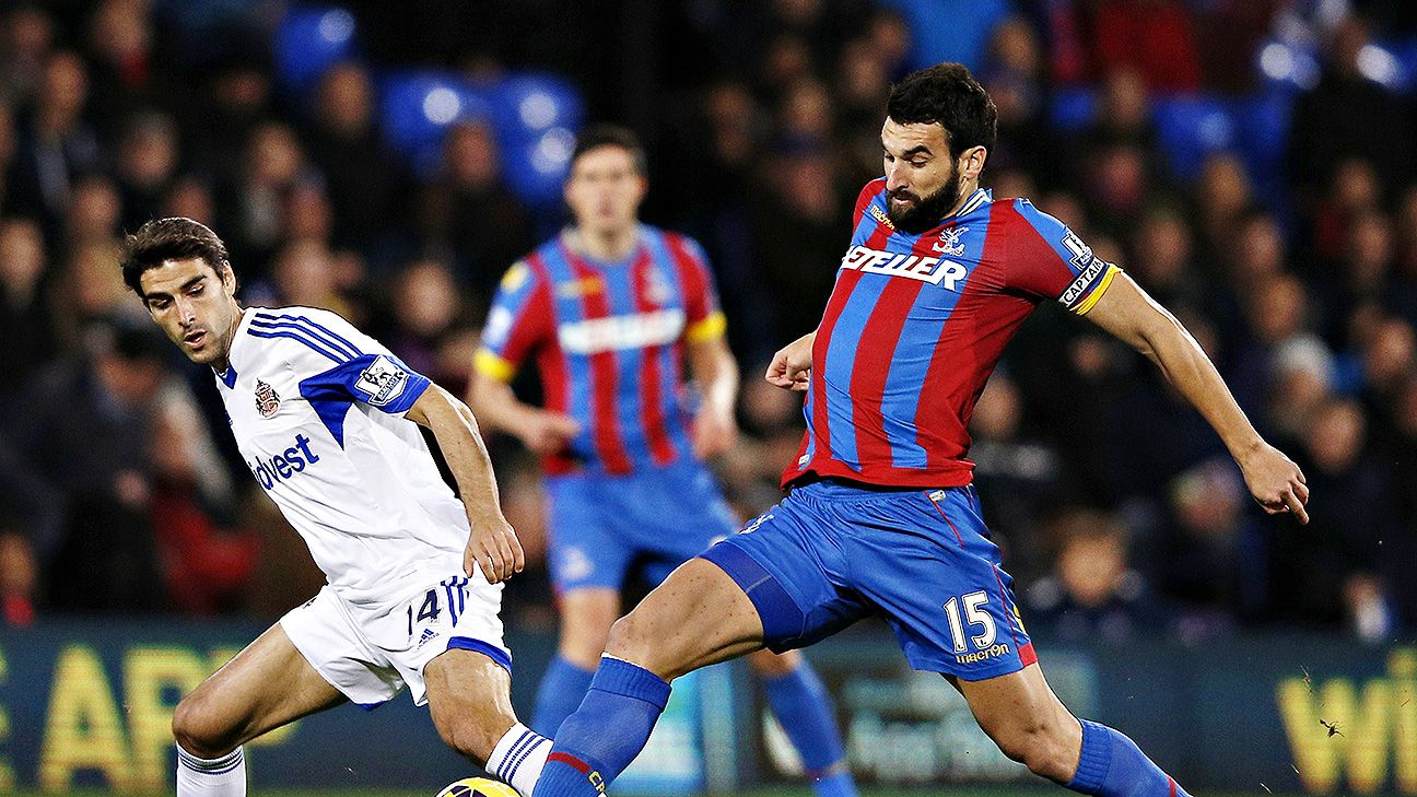 Crystal Palace's Mile Jedinak is not one to be afraid of a 50-50 challenge.