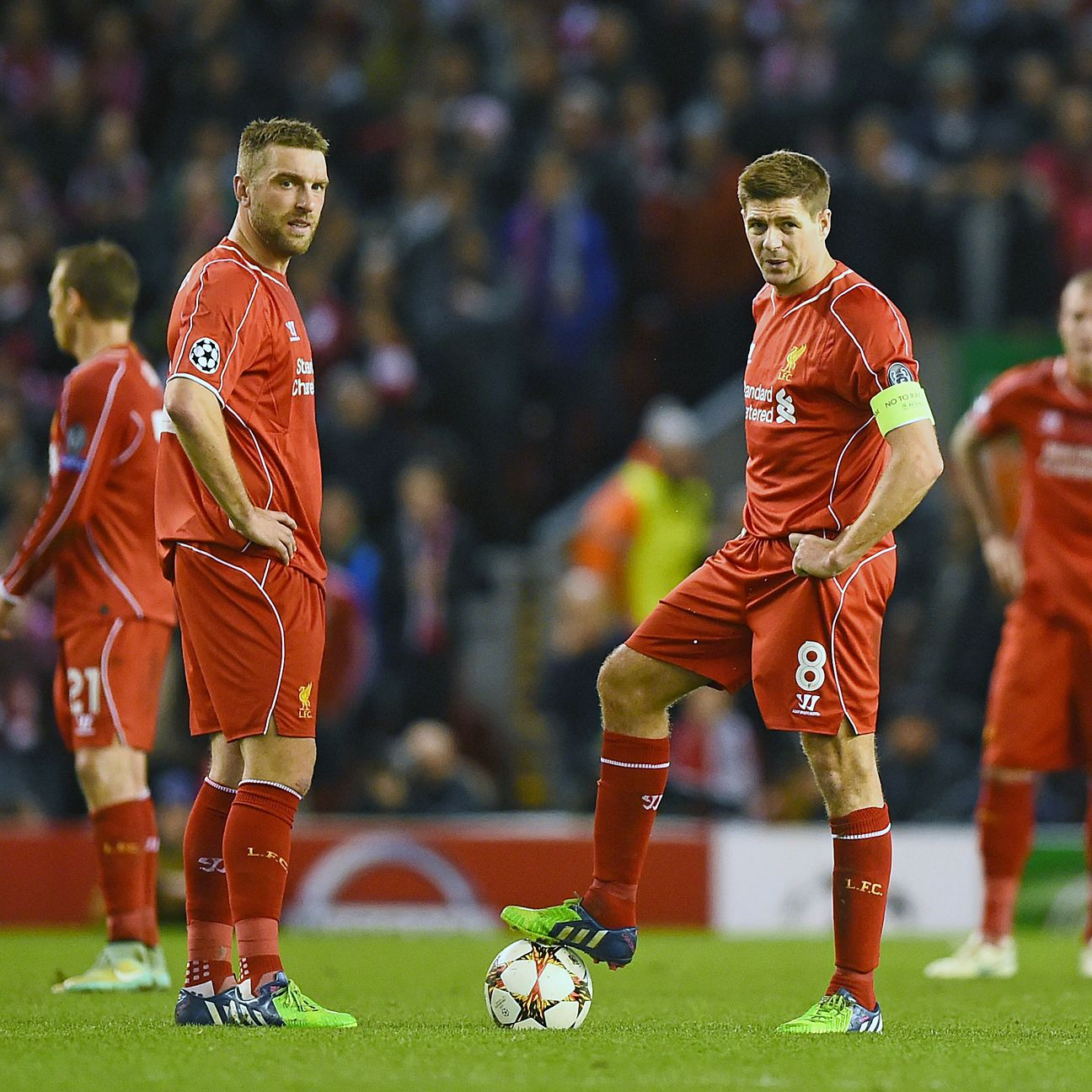 Rickie Lambert, left, was unable to deliver a big time performance for Liverpool, whose only goal came from Steven Gerrard, right.