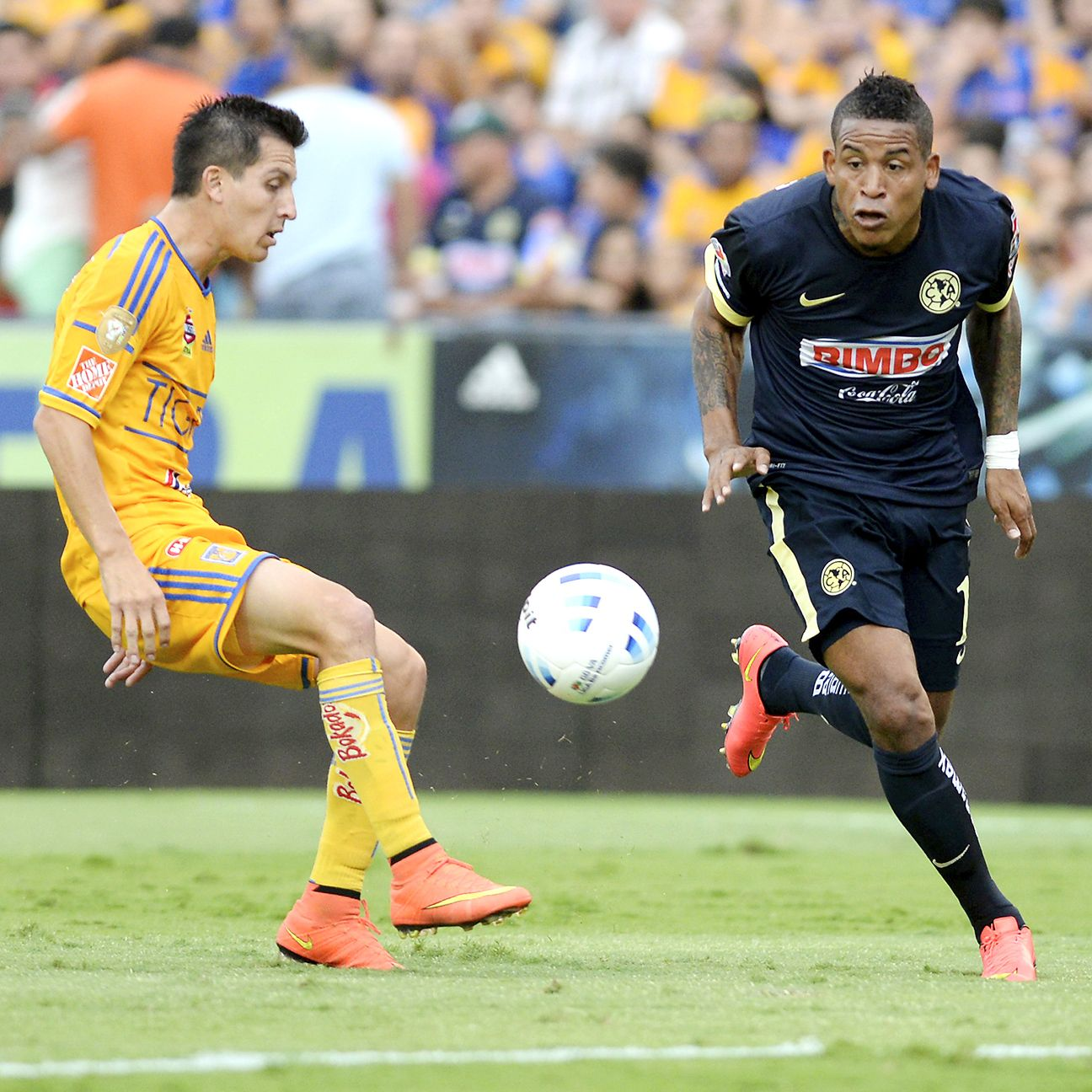 Michael Arroyo and Club America, right, will have to find a way past a Tigres defense that has only allowed one goal in their four Liguilla matches.