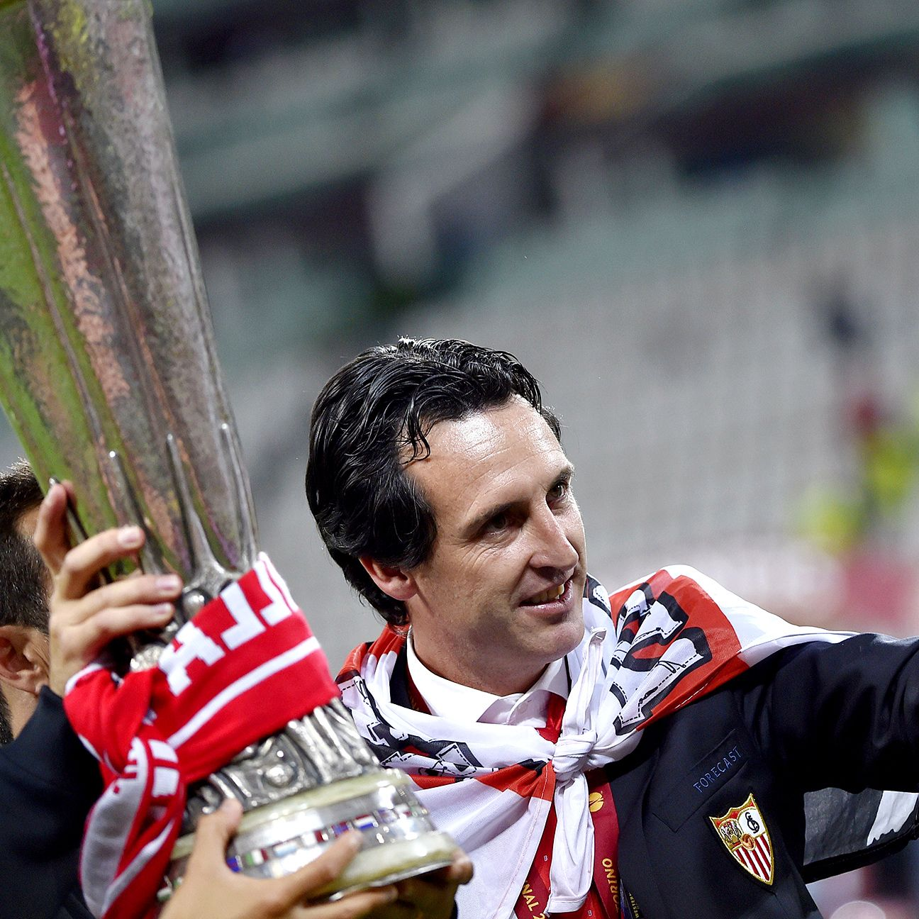 Unai Emery won three Europa League trophies back to back.