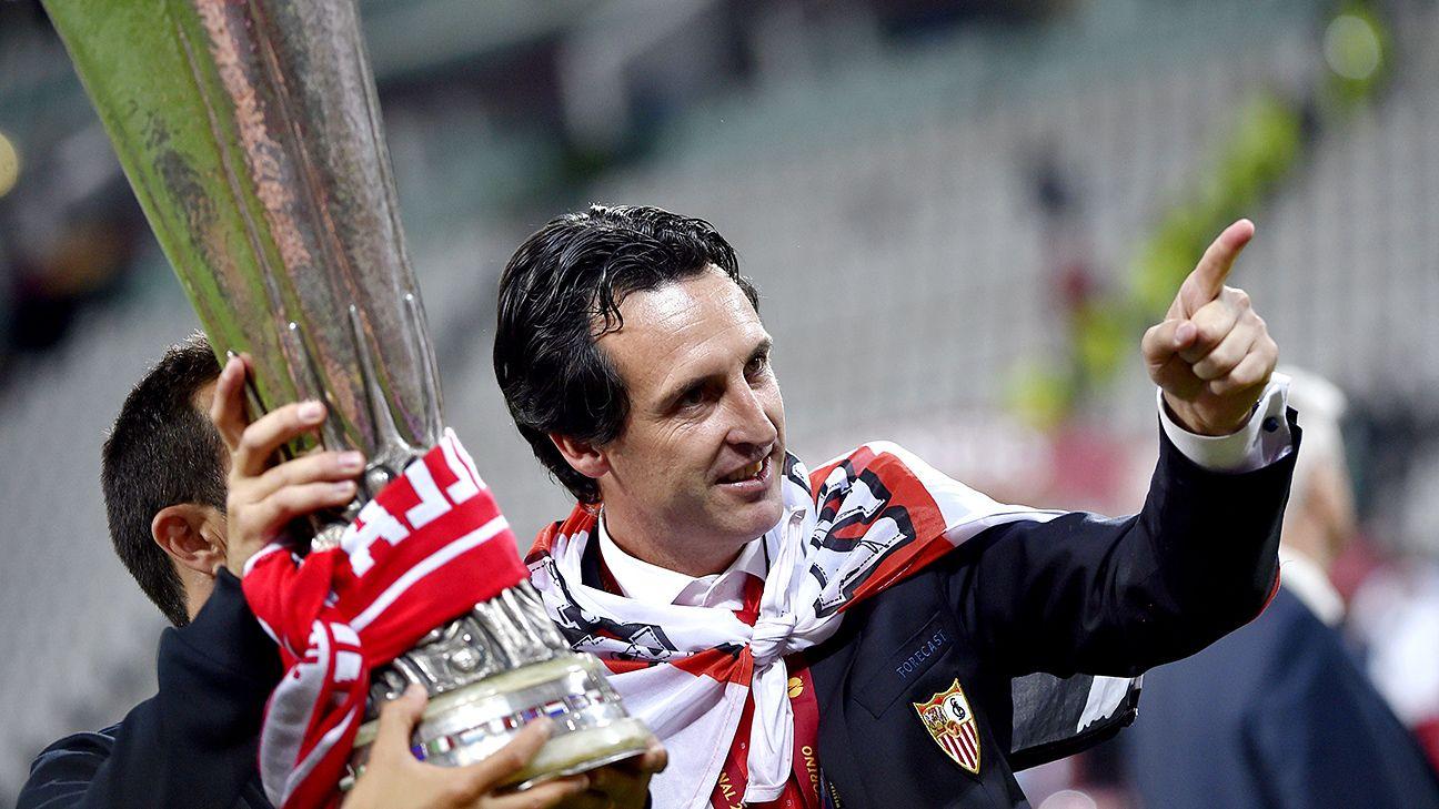 Unai Emery won three Europa League trophies back to back.