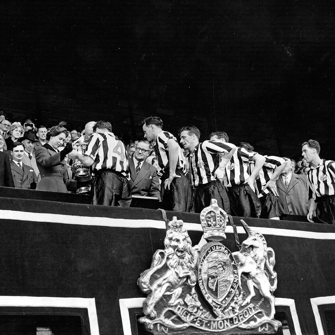 Queen Elizabeth II was just 29 years old when she presented the 1955 FA Cup trophy to Newcastle.