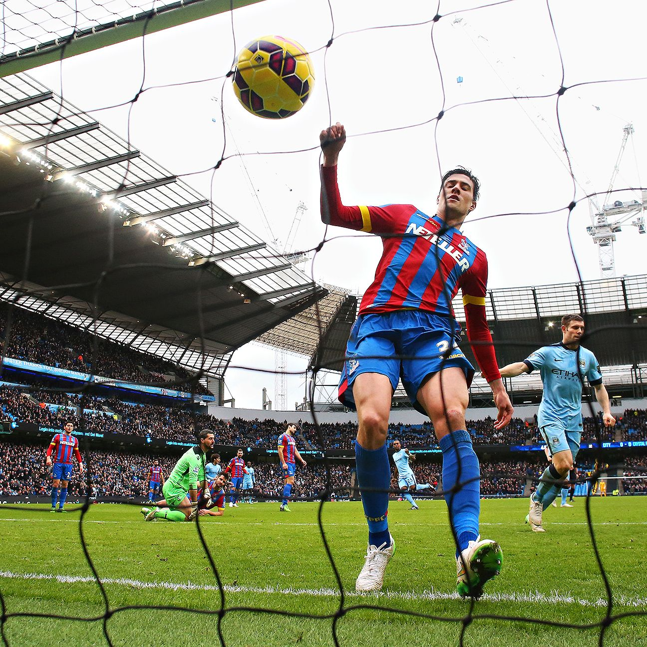 Martin Kelly was unable to prevent David Silva's deflected shot from going into net in Palace's hard-luck 3-0 defeat at Manchester City.