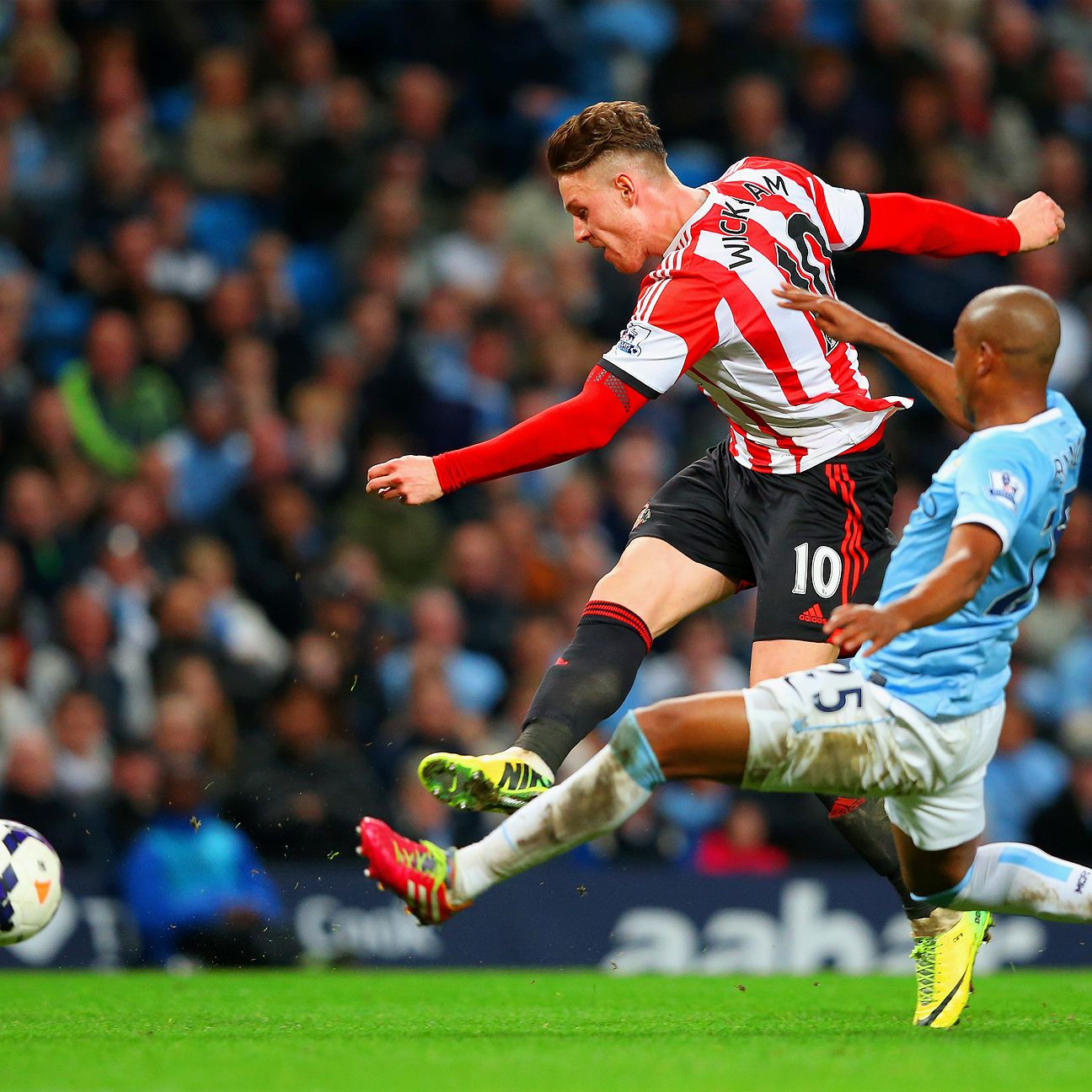 Connor Wickham struck for two goals in Sunderland's 2-2 draw at Manchester City last April.