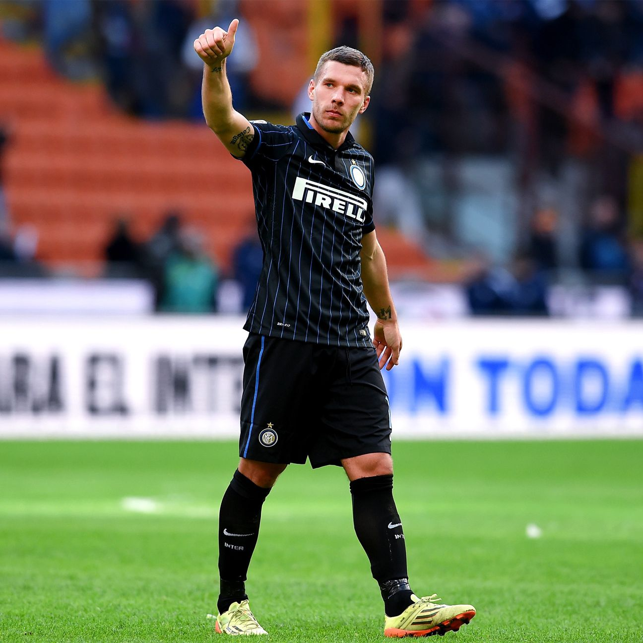 Lukas Podolski is the first German to play at Inter Milan in 22 years.