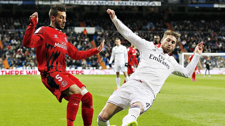 Sergio Ramos, right, had to exit inside the first ten minutes due to injury and could miss Saturday's derby versus Atletico.