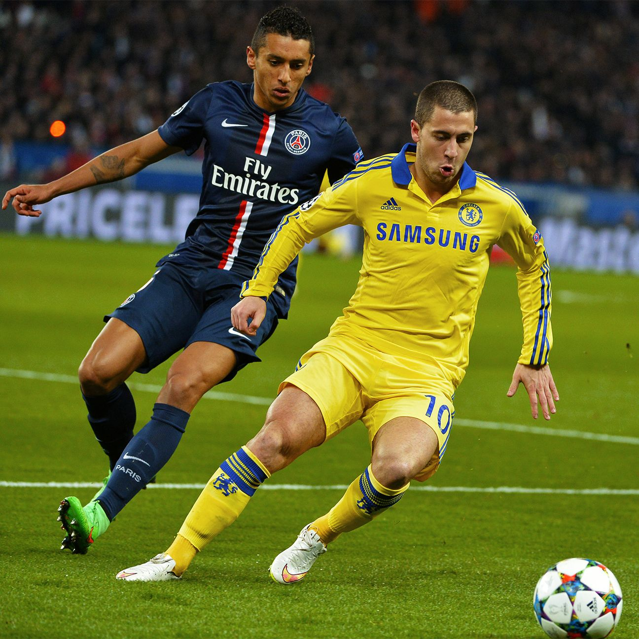 Eden Hazard was a headache all night long for the PSG defence.