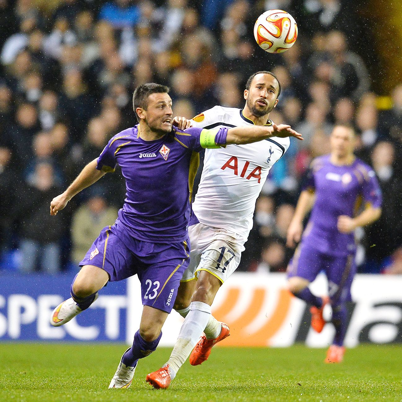 Andros Townsend, right, was a handful for the Fiorentina defence in the first half.