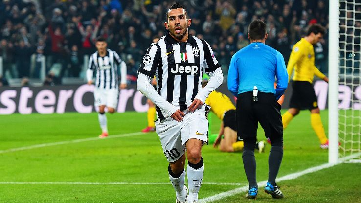 Carlos Tevez was quick to pounce on Roman Weidenfeller's deflection to hand Juve an early lead.