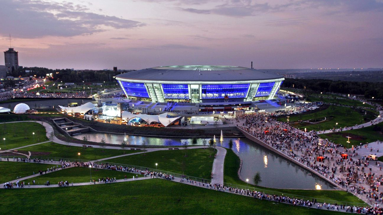 The estimated $460 million crown jewel of Donetsk: The Donbass Stadium at its grand opening in 2009.