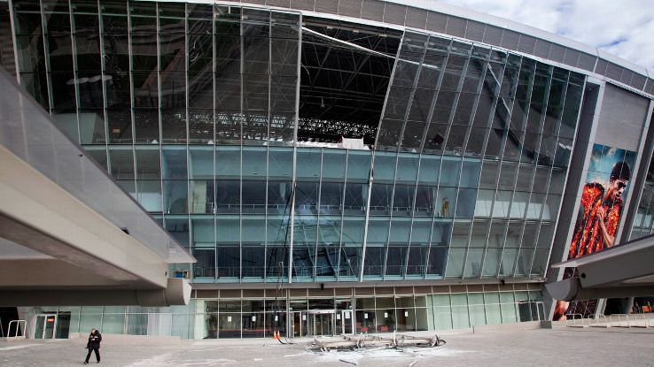 As recent as October, the Donbass Arena received a bomb threat. This damage was done in August of 2014.