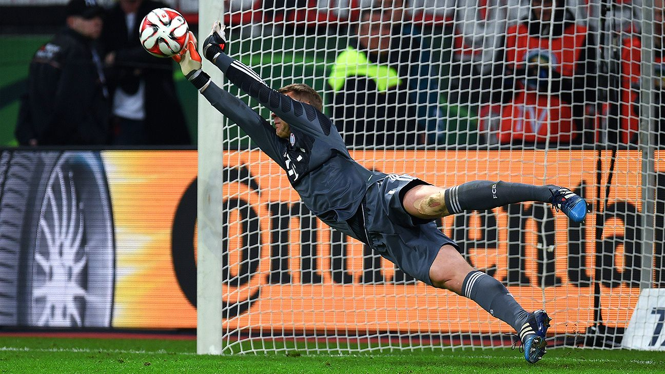 manuel neuer delivers for bayern munich versus bayer