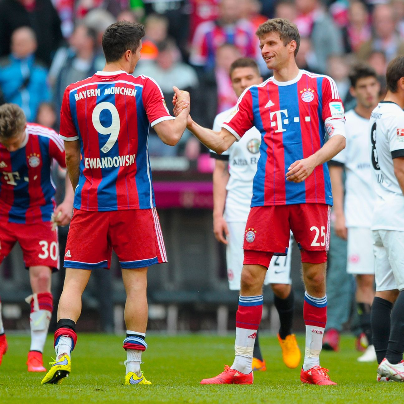 Robert Lewandowski and Thomas Muller teamed up to put Bayern on the cusp of another Bundesliga title.