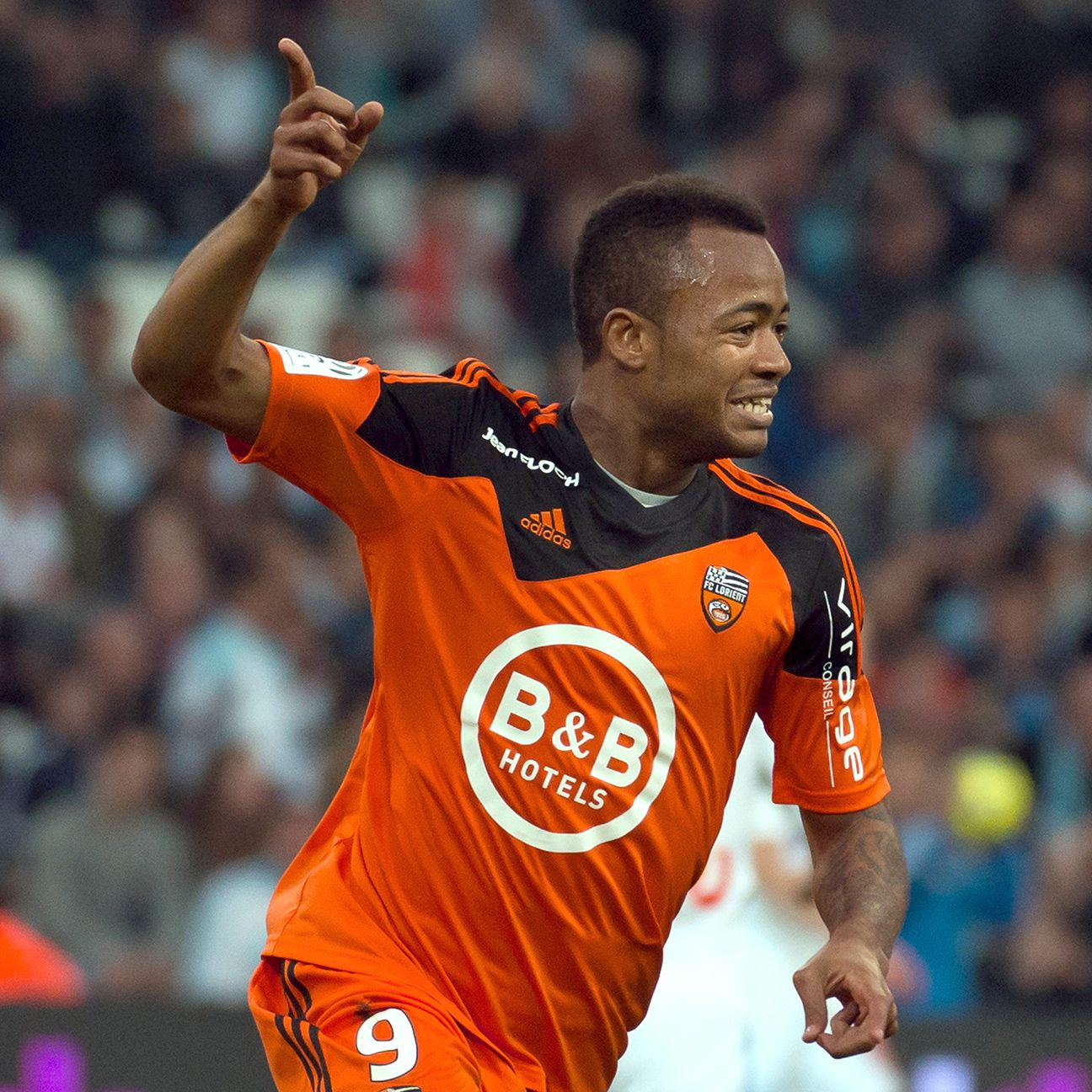 Jordan Ayew had 12 goals in 29 Ligue 1 starts for Lorient in 2014-15.