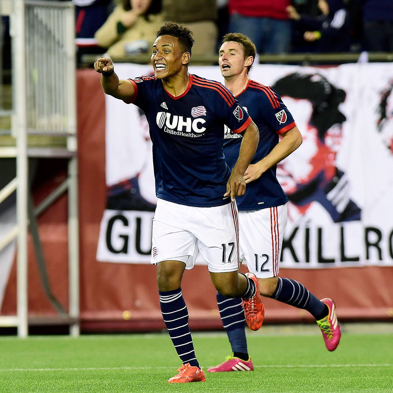 Juan Agudelo will be looking to score for the third game in a row when the Revolution clash with D.C. United.