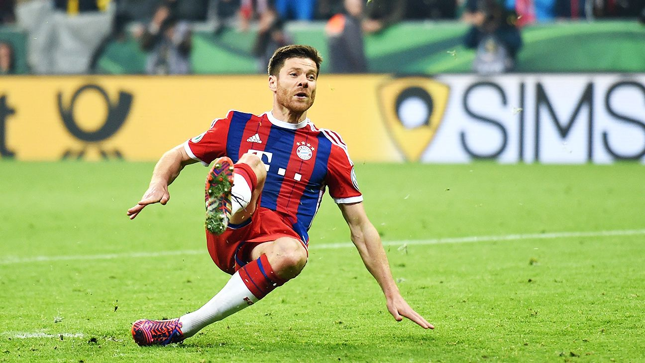 Xabi Alonso was the second of two Bayern players to slip while taking their penalty.