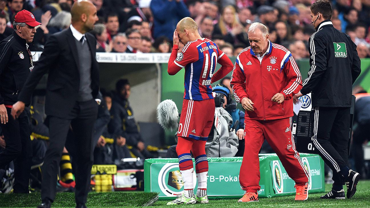 Arjen Robben's return from injury ended lasted a mere 16 minutes.