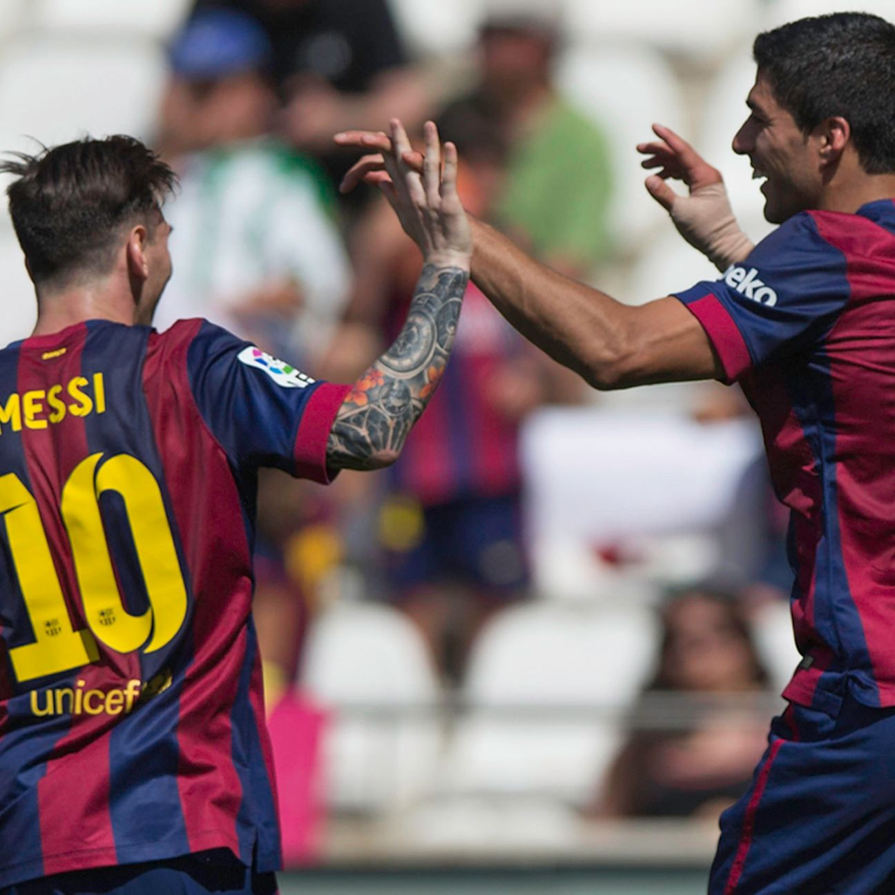 Lionel Messi and Luis Suarez combined to score five of Barcelona's eight goals versus Cordoba.
