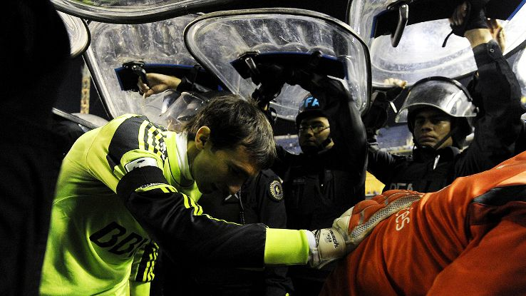 River Plate needed police protection to exit the pitch Thursday night at La Bombonera.