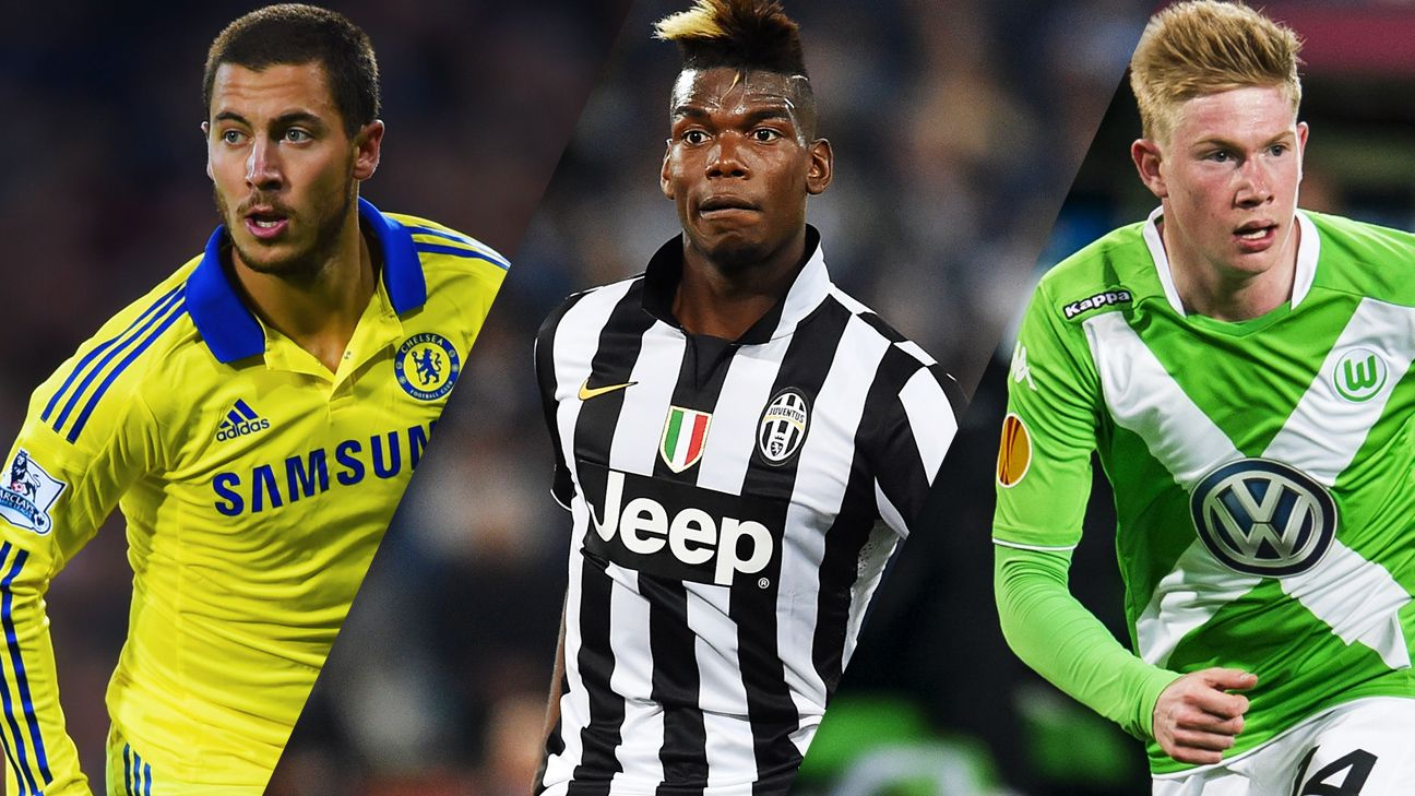 Where do Eden Hazard, Paul Pogba and Kevin De Bruyne rank among the world's best midfielders?