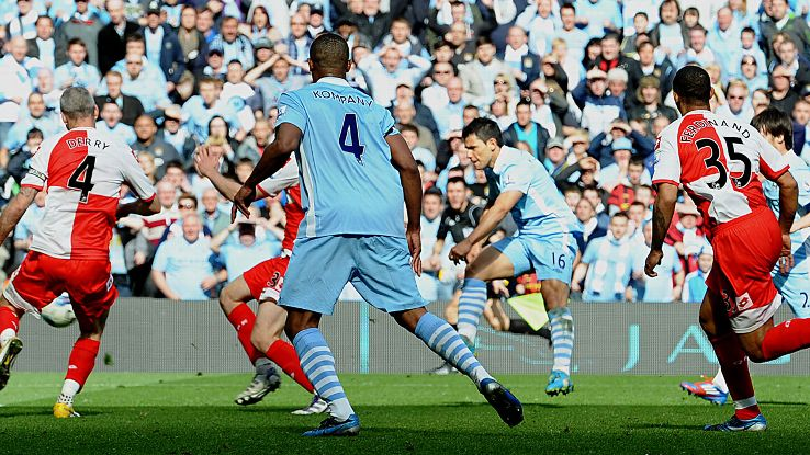 Taye Taiwo and Queens Park Rangers were unable to prevent Sergio Aguero scoring Manchester City's dramatic EPL title-winning goal.