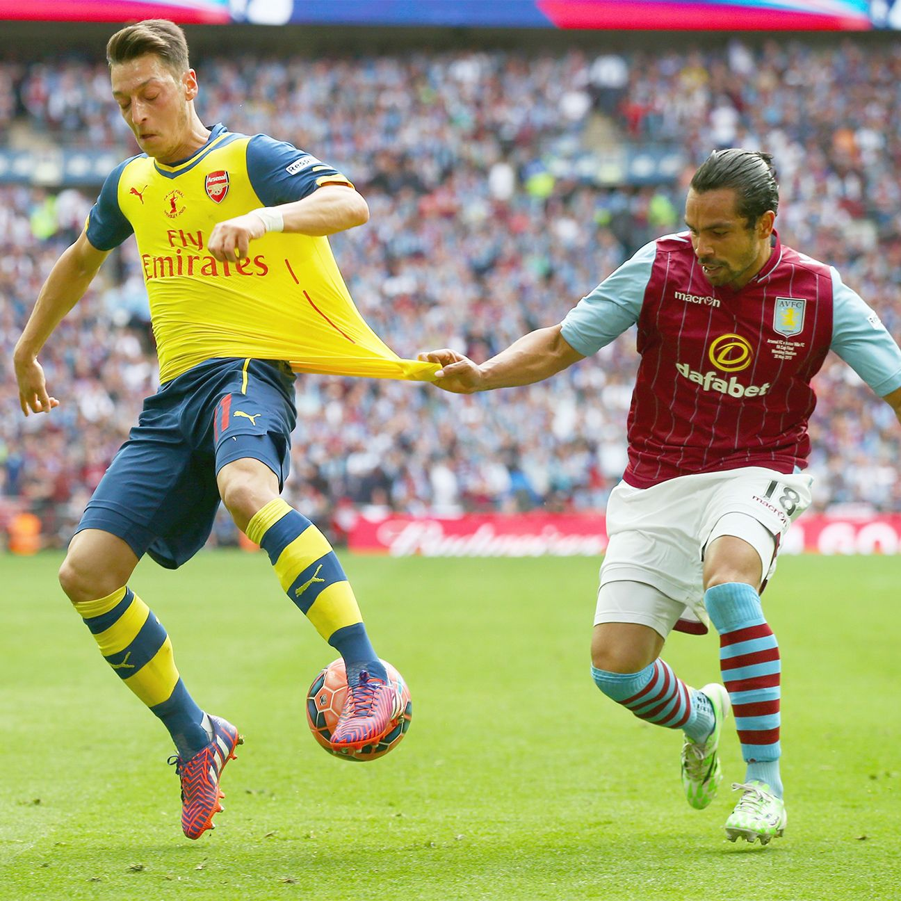 Aston Villa were unable to clamp down on Arsenal's Mesut Ozil in Saturday's FA Cup final.