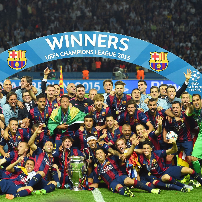 Barcelona players celebrate Champions League title - ESPN FC