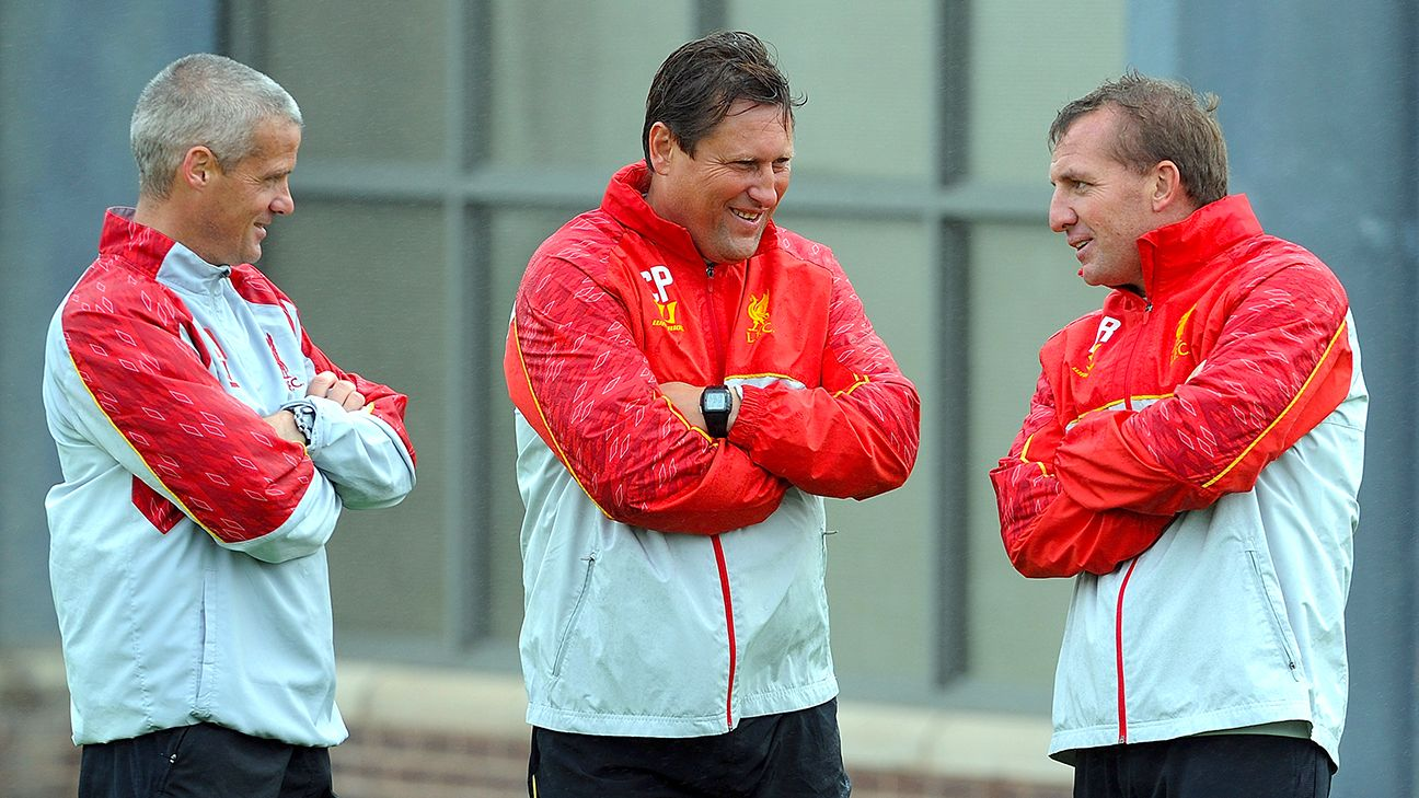 Assistants Colin Pascoe, center, and Mike Marsh, left, will not be back at Anfield next season.