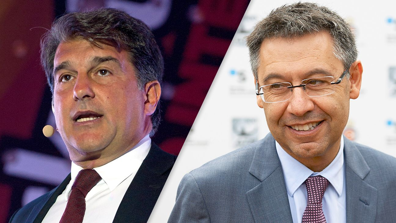 There is little love lost between Barcelona presidential candidates Joan Laporta, left, and Josep Maria Bartomeu, right.