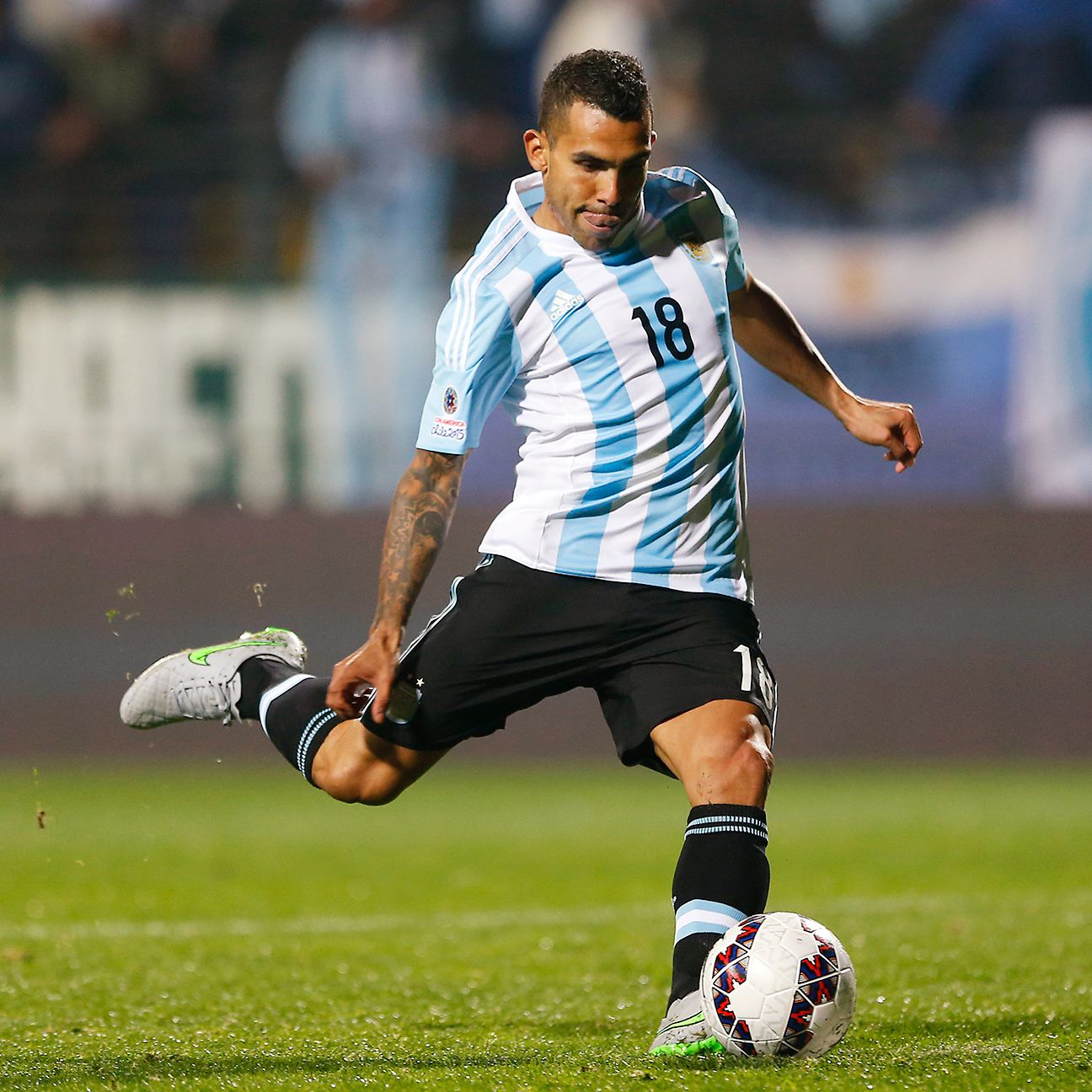 Carlos Tevez, who missed the decisive penalty in Argentina's 2011 quarterfinal defeat versus Uruguay, came through with the winner against Colombia on Friday.