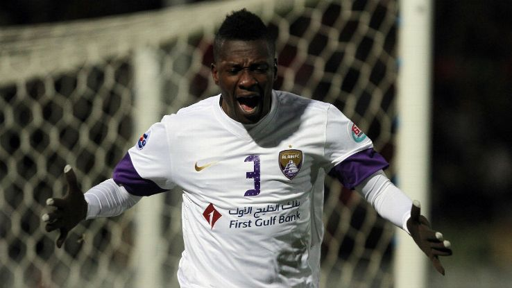 Asamoah Gyan played in the UAE for many of his peak years, here with Al Ain.