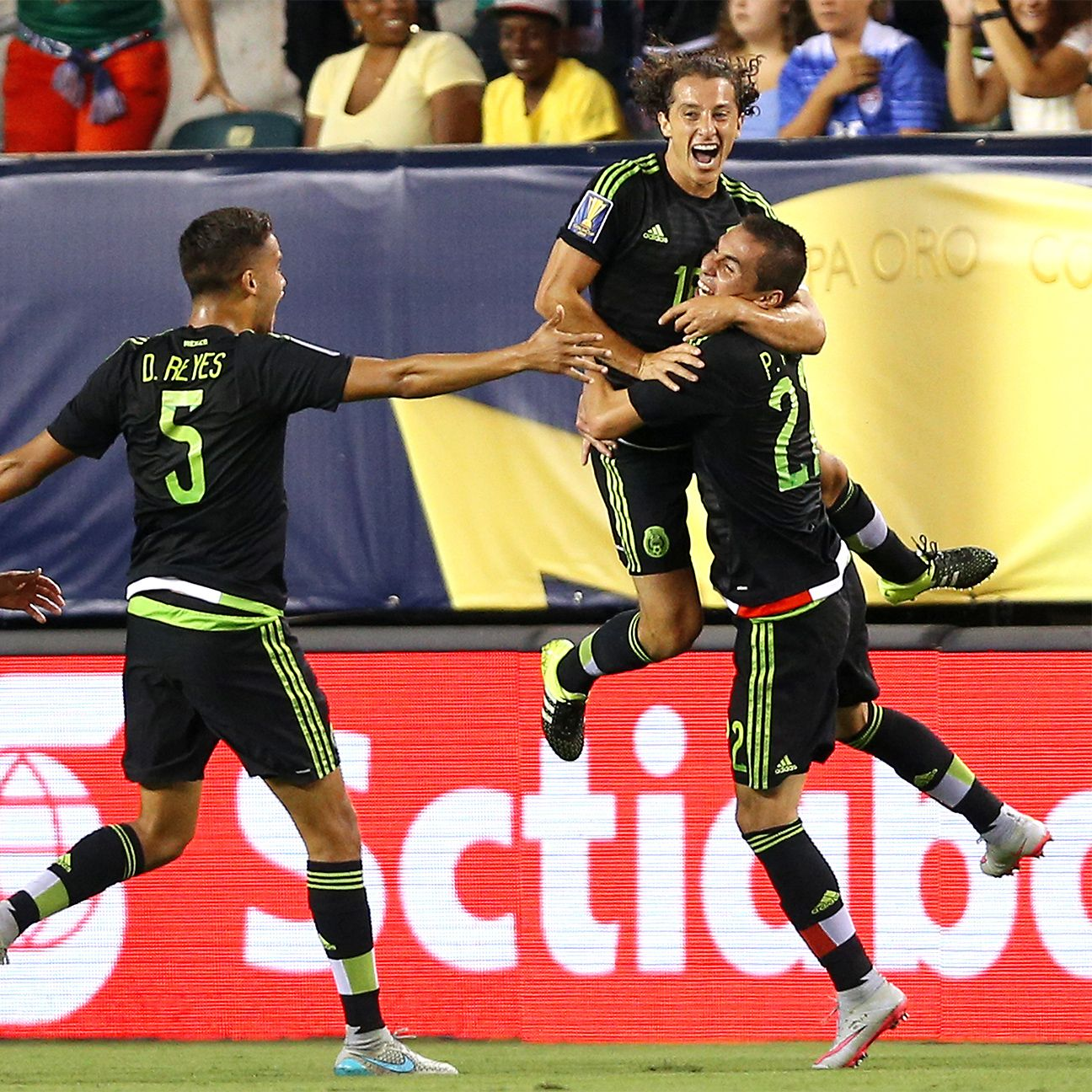 Andres Guardado's volley to open the scoring in Sunday's Gold Cup final was Mexico's first in the knockout round.