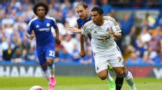 Chelsea's Branislav Ivanovic had no answer for speedy Swansea winger Jefferson Montero on Saturday.