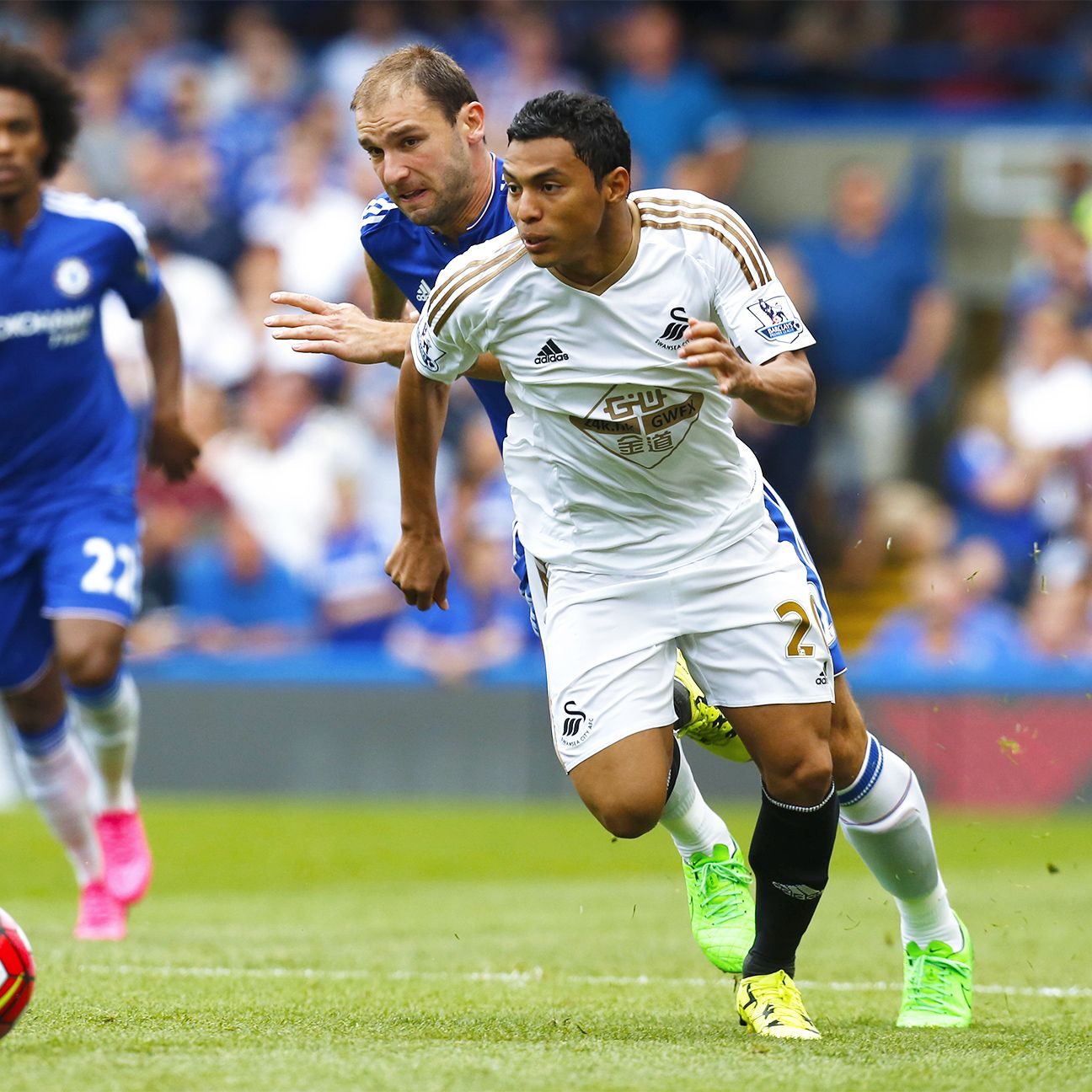 Chelsea's Branislav Ivanovic had no answer for speedy Swansea winger Jefferson Montero on Saturday.