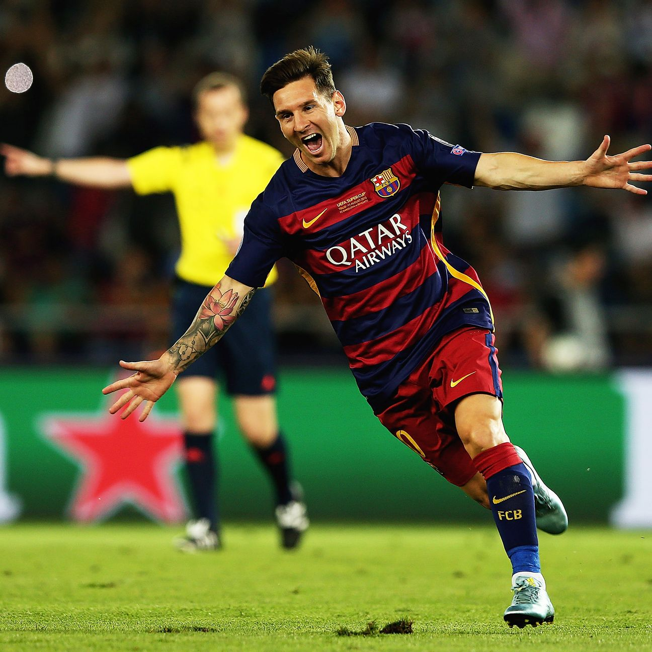 Lionel Messi produced a masterclass in free kicks by netting twice from dead balls during the first half.