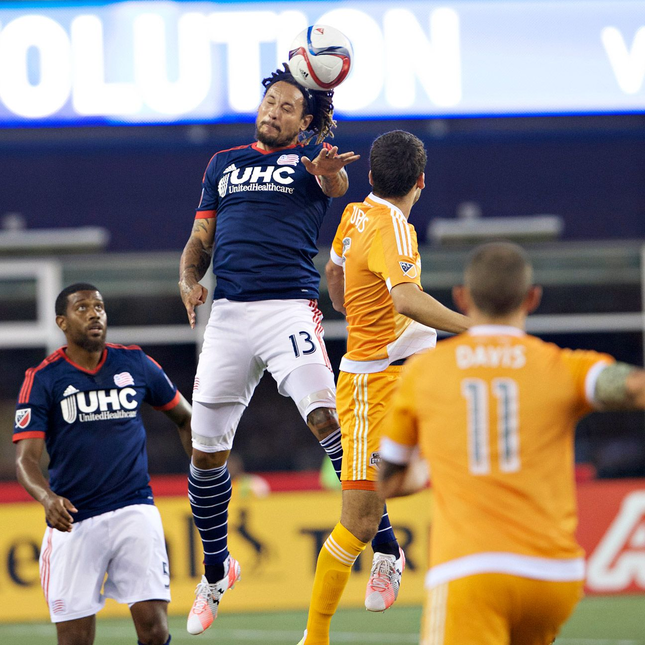 Jermaine Jones gets some air on defense in the first half Saturday against the Dynamo.