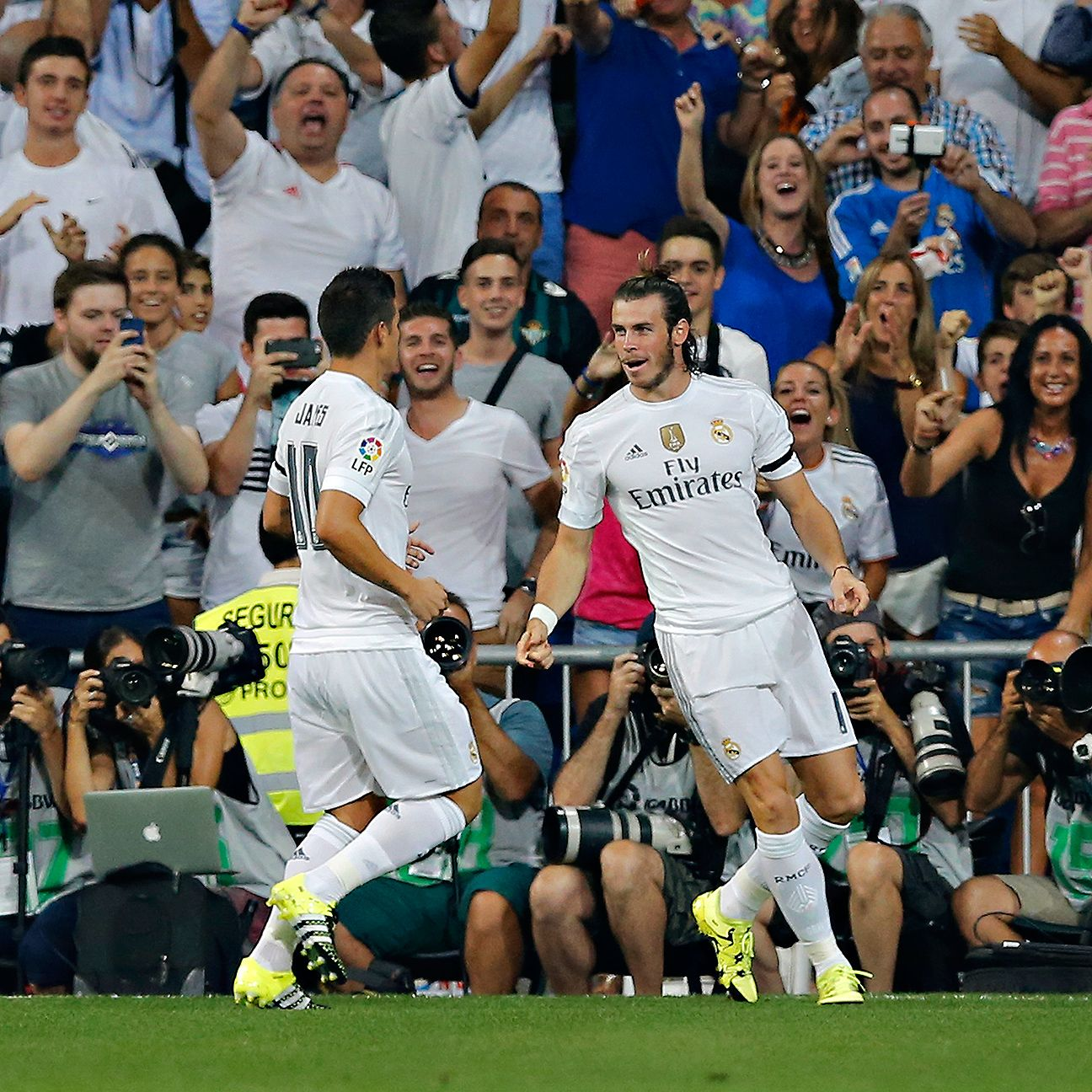 Braces from both James Rodriguez and Gareth Bale helped Real Madrid roll in their home opener versus Betis.