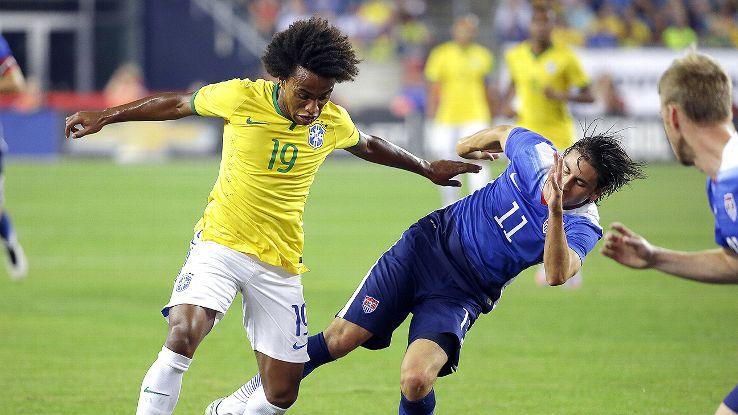 Alejandro Bedoya struggled mightily in the U.S. midfield against Brazil.