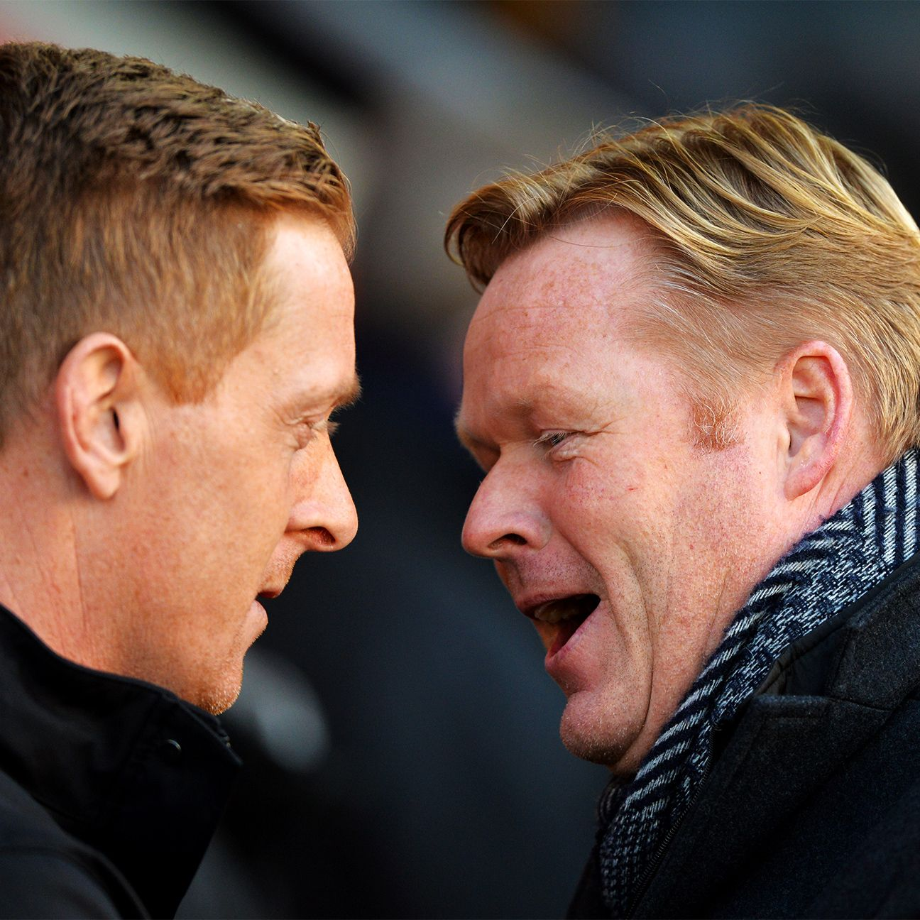 Swansea boss Garry Monk, left, and Southampton manager Ronald Koeman, right, have their respective teams playing attractive football.