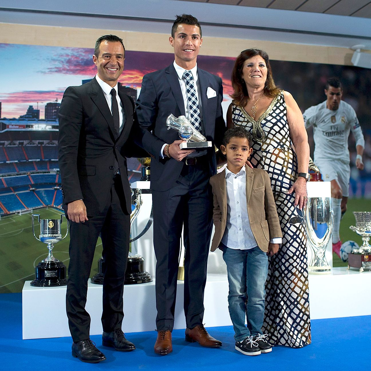 Agent Jorge Mendes, left, and mother Maria Dolores dos Santos, right, are featured prominently in