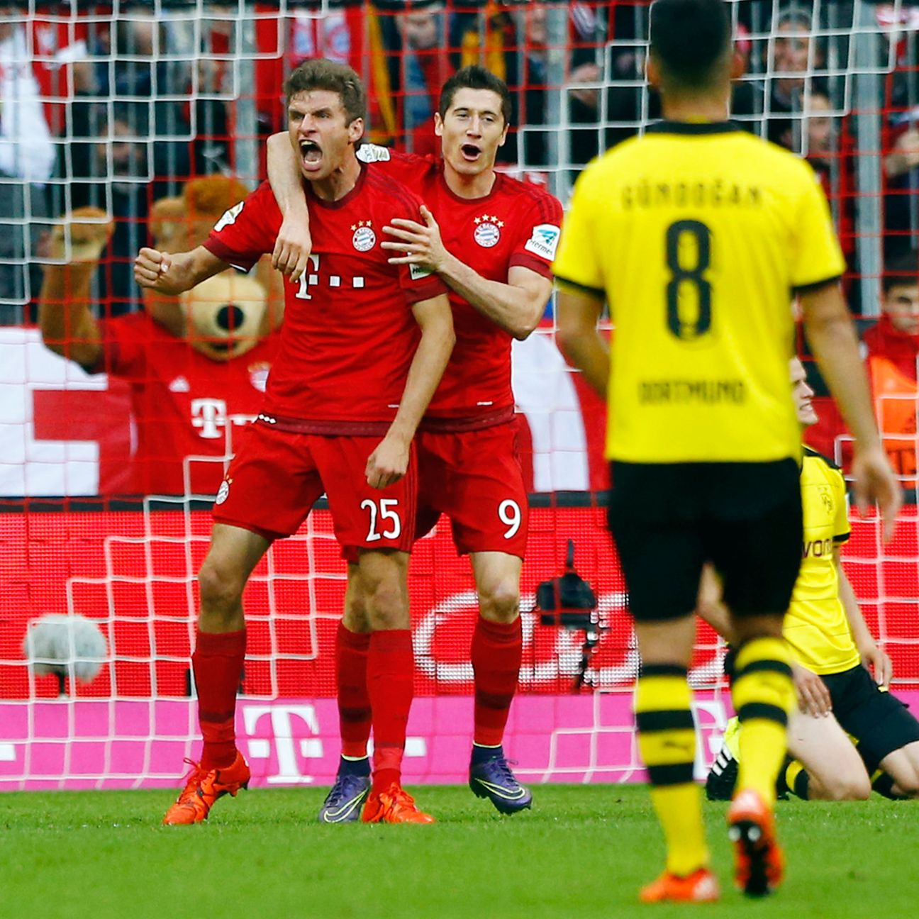 Ilkay Gundogan, far right, and Dortmund endured a miserable day in Munich on Sunday.